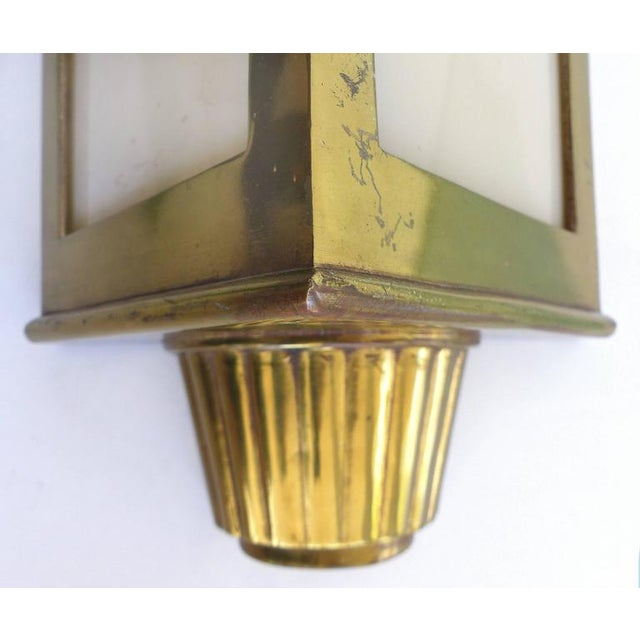 1930s American Art Deco Bronze and Glass Theater Sconces - A Pair For Sale - Image 4 of 10