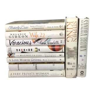 Large White Hardcover Fiction Books - Set of 10 For Sale