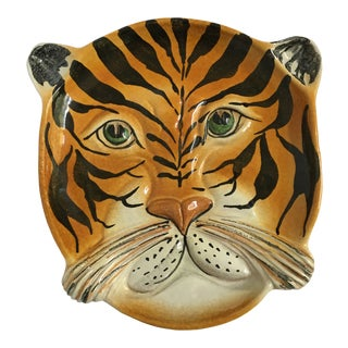 Mid Century Italian Hand Painted Striped Tiger Platter For Sale