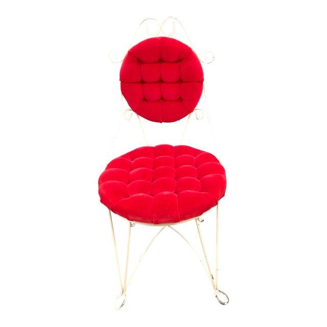 Vintage Teena Original Hollywood Regency Red Velvet Vanity Chair For Sale
