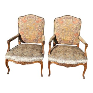 19th Century French Walnut Petite Point Neelde Point Arm Chairs- A Pair For Sale