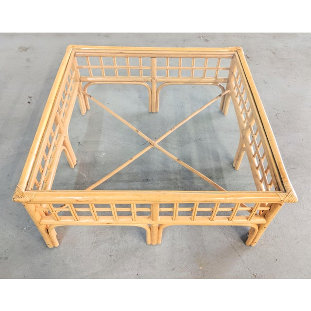Boho Chic Vintage Boho Chic Rattan Coffee Table For Sale - Image 3 of 9