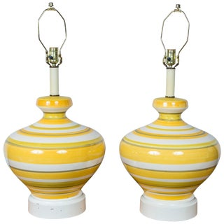 Pair of Large Striped 1960s Lamps For Sale