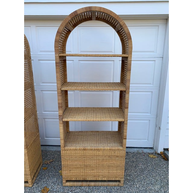 1970's Bielecky Style Rattan and Brass Bookshelves-Set of 3 For Sale - Image 11 of 13