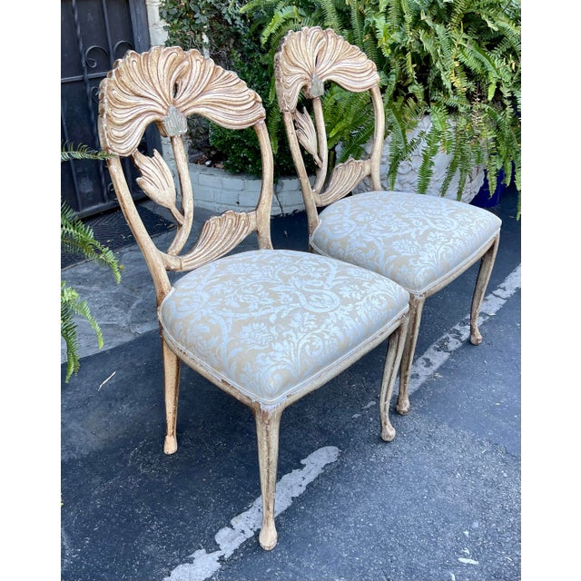 1950s Vintage Fortuny Upholstered Carved Italian Grotto Chairs - a Pair For Sale - Image 5 of 8