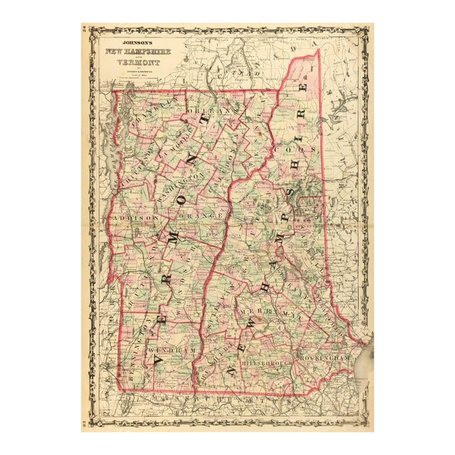 Antique Map of New Hampshire & Vermont, 1861 For Sale