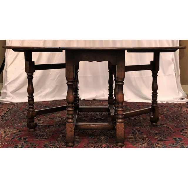 Oak English Drop Leaf Yew-Wood Round Table For Sale - Image 7 of 8
