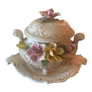 Napolein Capodimonte Porcelain Serving Tureen For Sale