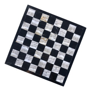 1980s Postmodern Black & Gray Stone Checkerboard For Sale