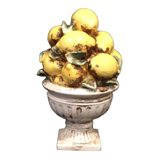 Vintage Majolica Style Ceramic Lemon Topiary Centerpiece For Sale