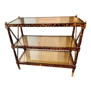 Bar Cart - Neoclassical Style Faux Tortoise Finish For Sale