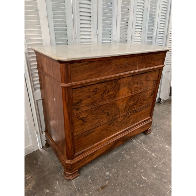 White 19th Century French Louis Philippe Bookmatched Commode With Marble Top For Sale - Image 8 of 12