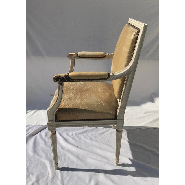 Painted French Louis XVI Desk Chair in Old Leather For Sale - Image 12 of 13