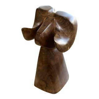 Wood Carved Abstract Big Horn Sheep Sculpture Monogrammed Ja For Sale