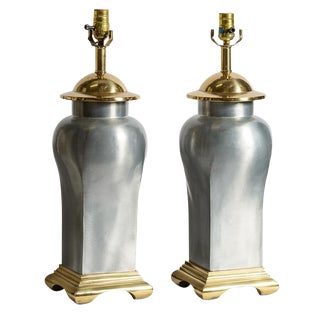 Hollywood Regency Asian Style Brass & Brushed Steel Ginger Jar Lamps-A Pair For Sale