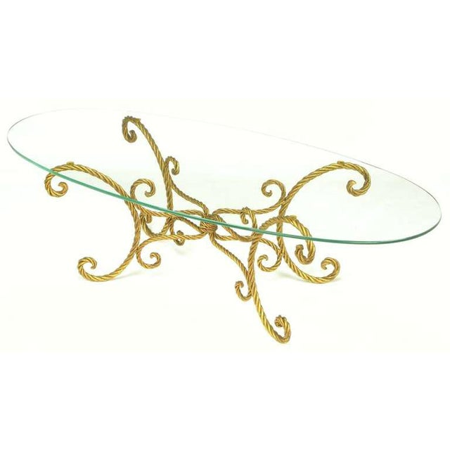 Italian Oval Italian Gilt Braided Metal Rope Coffee Table For Sale - Image 3 of 8