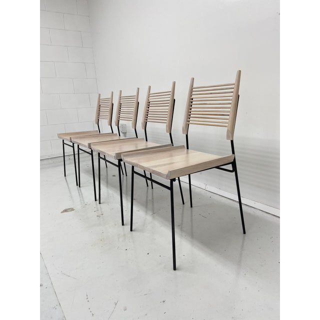 Paul McCobb Style Oak and Iron Chairs- Set of 4 For Sale - Image 9 of 13