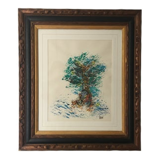 Mid-Century Brutalist Frame Watercolor Tree Painting by Vodian For Sale