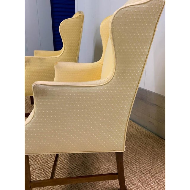Great form and a blank slate for your inner designer to create an updated and fun pair of wingback chairs. The chairs have...