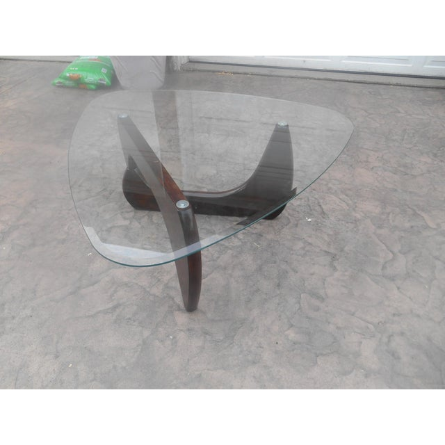 Mid-Century Danish Modern Isamu Noguchi Style Walnut & Glass Coffee Table. It has a really simple design with nice lines...