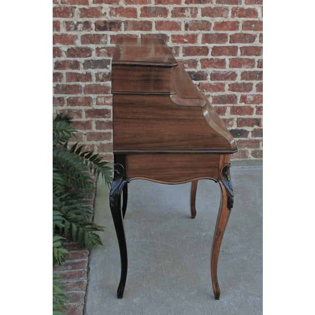 Antique French Birds Eye Maple Fall Front Secretary Desk Bureau For Sale In Dallas - Image 6 of 13