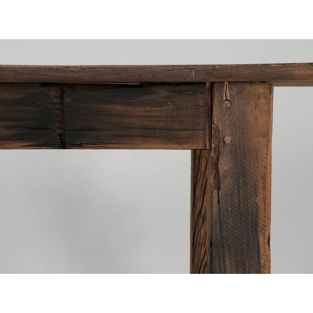 Wood Antique French Industrial Work Table or Rustic Farm Dining Table, Circa 1900 For Sale - Image 7 of 10