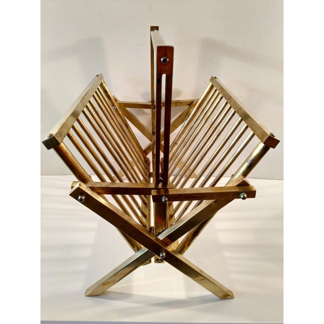 Mastercraft Styled, Folding Brass Magazine Rack, 1960s For Sale In Miami - Image 6 of 12