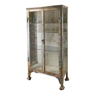Antique Cast Iron & Glass Apothecary Cabinet For Sale