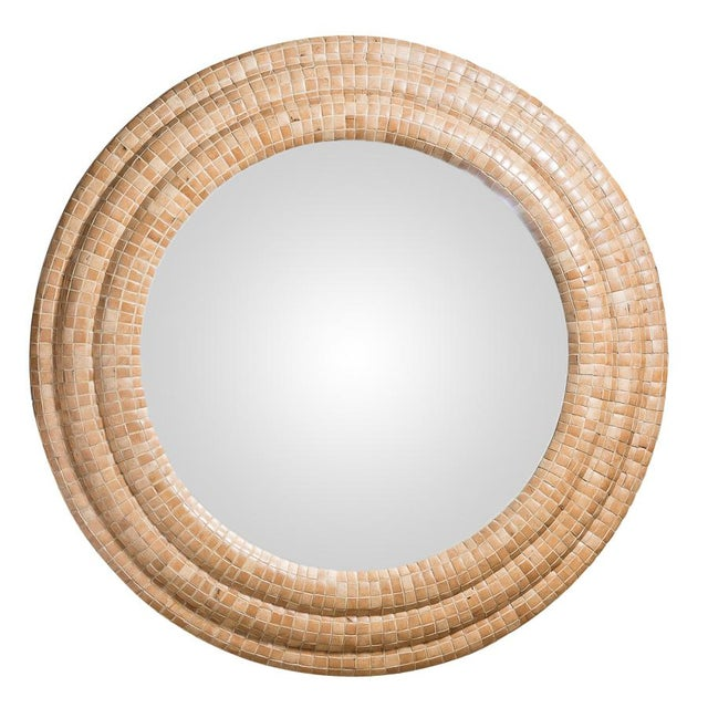 Mid-Century Modern Round Tessellated Wood Convex Mirror, Attr. To Maitland Smith For Sale - Image 9 of 9