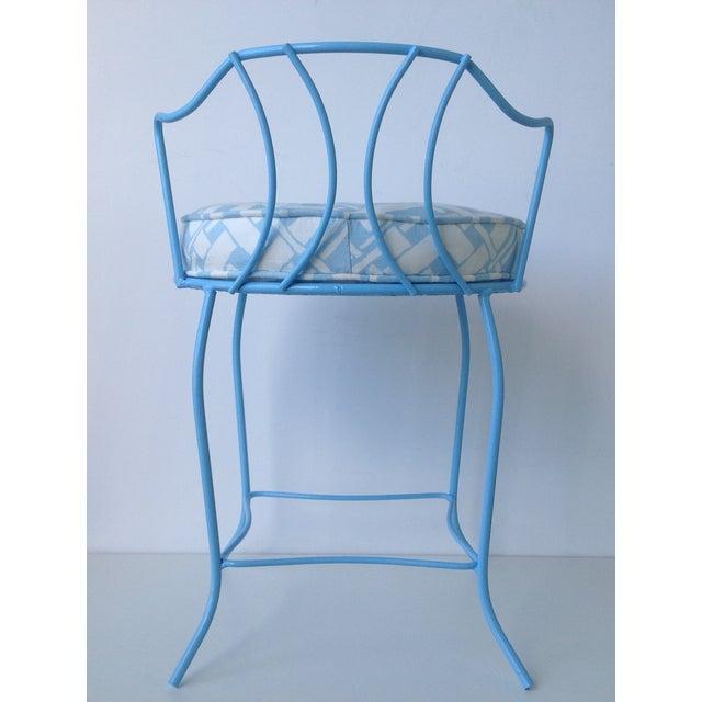 Mid-Century Blue Metal Vanity Stool For Sale - Image 5 of 11