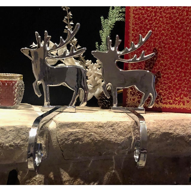 Vintage Reindeer Silver Plated Stocking Hangers - Set of 2 For Sale In Phoenix - Image 6 of 9