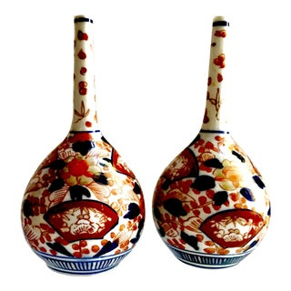 Rare Antique 19th Century Meiji Imari Long Neck Bottle Vases - A Pair