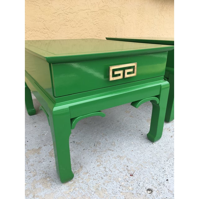 1960s Asian High Gloss Green Side Tables - a Pair For Sale - Image 4 of 8