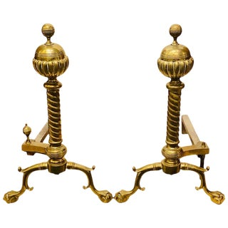 Pair of Brass Andirons Circa 1880 Ball and Claw Feet of Twisted Column Form For Sale
