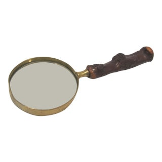 Mid-Century Desk Wood & Brass Magnifying Glass