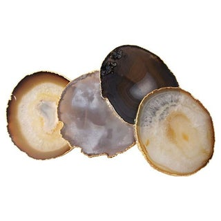 Agate Coasters With 14k Gold Plated Rims - Set of 4