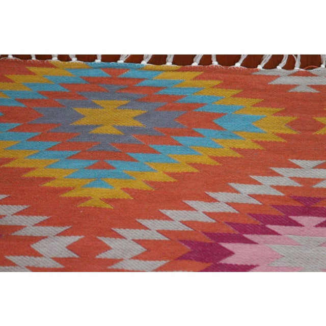 Rainbow Flat Weave Diamond Turkish Wool Kilim Rug - 4' x 6' - Image 6 of 12