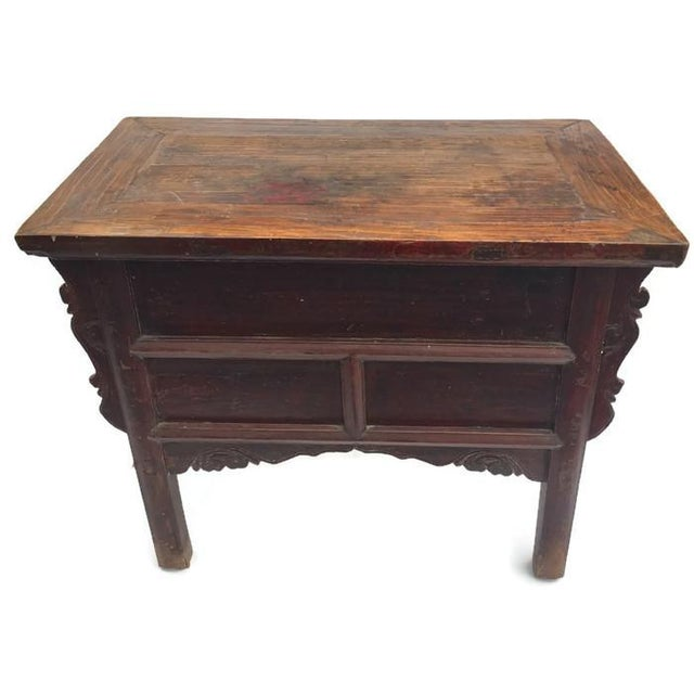 Antique Tibetan Altar Console Table 3 Drawer Chest For Sale - Image 4 of 9