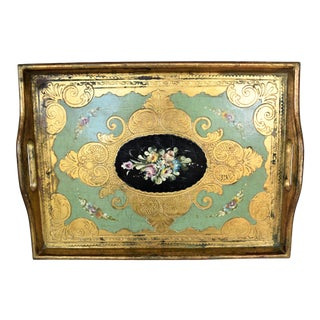 Antique G. Serraglini Hand Painted Tray For Sale