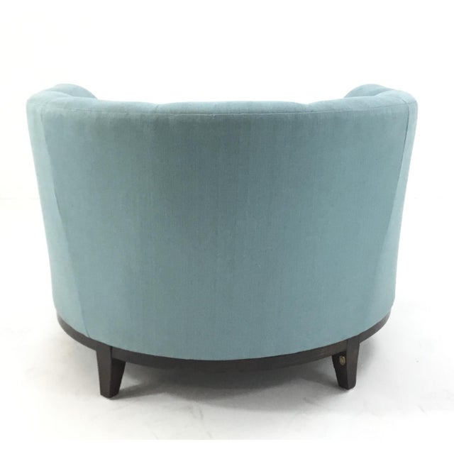 2010s Barbara Barry for Henredon Robins Egg Blue Channel Back Tub Club Chair For Sale - Image 5 of 7
