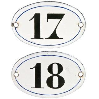 Vintage French Enamel Hotel Room Numbers - A Pair