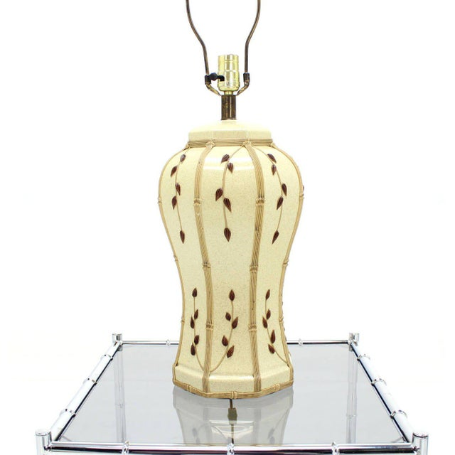 Early 20th Century Faux Bamboo Motive Art Decorated Mid-Century Modern Lamp For Sale - Image 5 of 7