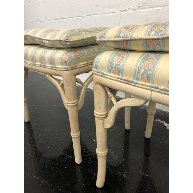 Boho Chic Regency Style Faux Bamboo Benches - a Pair For Sale - Image 3 of 6