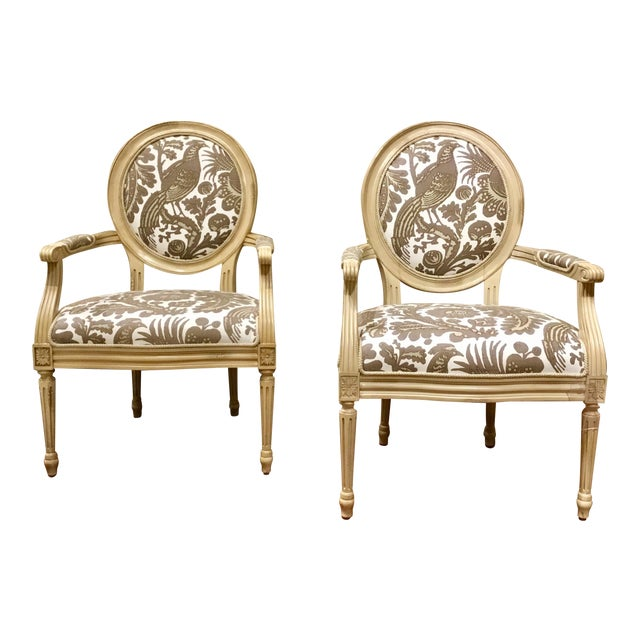 Modern Port 68 French Style Taupe & Ivory Avery Chairs Pair For Sale