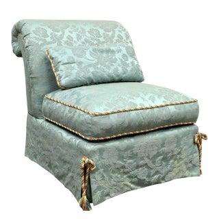 Vanguard Furniture Rolled Back Blue Upholstered Slipper Chair