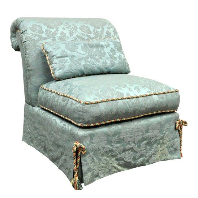 Vanguard Furniture Rolled Back Blue Upholstered Slipper Chair - Image 1 of 11