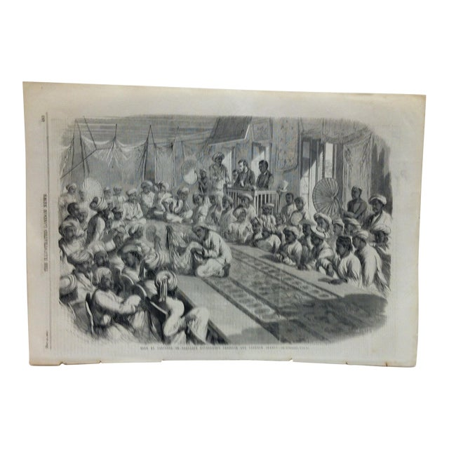 "1860 Antique Illustrated London News ""Sale of Calcutta of Valuable Government Presents and Lucknow Jewels"" Print For Sale"
