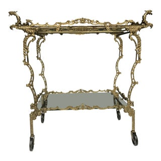 Rococo Style Two-Tier Brass Bar Cart For Sale