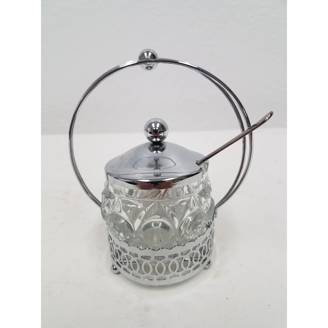 Antique English Jelly Condiment Jar With Silver Plate Top and Spoon For Sale - Image 10 of 10
