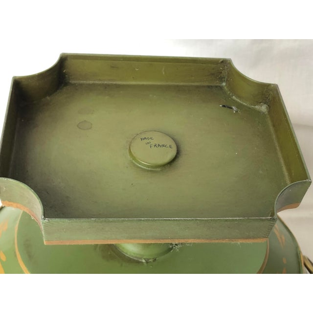 French Green & Gold Tole Neoclassical Footed Monteith/Rafraichissoire/Chillers, Hp For Sale - Image 11 of 13